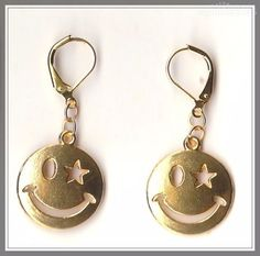 Smiley Charm on Gold Plated Lever Back Earrings  by MadAboutIncense - $10.50