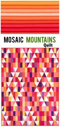 Kona Cotton Solids Mosaic Mountains Warm Quilt Kit Robert Kaufman Fabrics KITP-1766-22  Modern triangle quilt pattern using Kona Cotton.  Modern solids quilt.  affiliate link.
