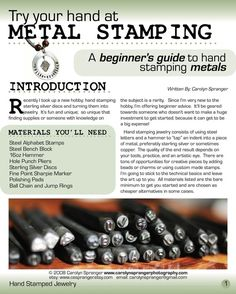 This ebook is everything you need to know about getting started Stamping Silver. Its geared towards someone who is just starting and wants to be