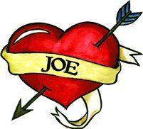 """Joe Temporaray Tattoo by Tattoo Fun. $3.95. A 2""""x2.5"""" sized Heart Temporary Tattoo with the Name Joe written in the ribbon."""