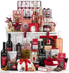 Image of Promotional Christmas Business Hamper, With Champagne, Port, Fine Wines & Luxury Treats Christmas Is Coming, Christmas 2014, Christmas Ideas, Xmas, Scottish Hampers, Traditional Hampers, Wicker Hamper, Food Hampers, Christmas