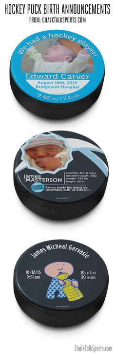 Customized Hockey Pucks, use them for birth announcements, wedding announcements, gifts for coaches and more!