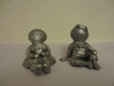 "1980 C.A.T. ORPHAN ANNIE & ORPHAN ANDY PEWTER FIGURINES, Stamped, USA ~1.5"" Each"