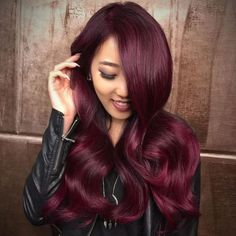Burgundy and Magenta Hair Color Burgundy Hair With Highlights, Dark Burgundy Hair, Dark Hair, Peekaboo Highlights, Dark Red, Weave Hairstyles, Cool Hairstyles, Burgundy Hairstyles, Gorgeous Hairstyles