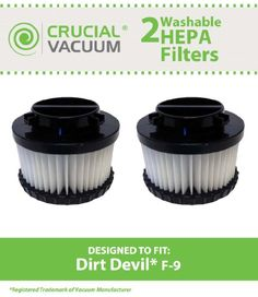 Crucial Vacuum Brand #Dirt #Devil F9 WASHABLE, REUSABLE Vacuum HEPA Filter. Compare With Dirt Devil Part #3DJ0360000, 2DJ0360000. Fits all Dirt Devil Models that ...