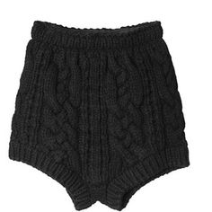 Merino wool cable knit shorts