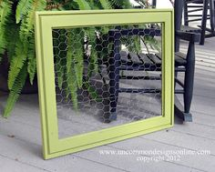 Very Cute Chicken Wire Bulletin Board (made from old picture) from Uncommon Designs