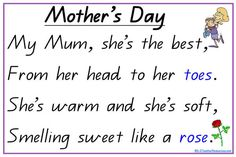 Printable Mother's Day poem - great for cut / paste sentence and word reconstruction fun !