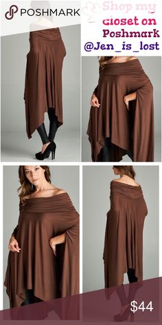 Asymmetrical Poncho Style Tunic Very loose fit, off shoulder, asymmetrical hemmed poncho-style tunic with slit armholes. This poncho style tunic is made with heavyweight knit jersey that is very soft, drapes beautifully and stretches well. Fabric Content: 95% Rayon 5% Spandex Tops Tunics