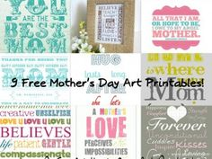 9 Free Mother's Day Printables including  subway art. Use for Project Life.