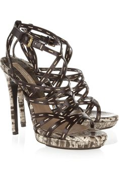 Michael Kors Lizardeffect Leather Sandals in Brown | Lyst