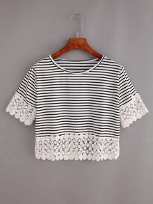 Shop Lace Trimmed Black White Striped Crop T-shirt online. SheIn offers Lace Trimmed Black White Striped Crop T-shirt & more to fit your fashionable needs. Black And White Crop Tops, Striped Crop Top, Black White Stripes, Crop Top And Shorts, T Shirt And Shorts, Long Sleeve Crop Top, Summer Crop Tops, Summer Shirts, Cooler Look
