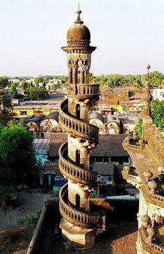 Spiral staircase in Mahabat Maqbara, India.  #studyabroad #ustabroad