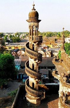 Spiral staircase in Mahabat Maqbara, India.