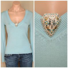 NWT New Vintage Style Sigrid Olsen Blue V neck Sweater Top with Brooch  sz XS #SigridOlsen #KnitTop