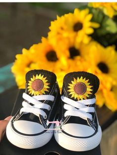 Sunflower converse - sunflower outfits - outfits for summer - Monogrammed Converse shoes - custom shoes - personalized converse - gift ideas for toddlers - first birthday gift ideas - mommy and me shoes ideas TODDLER SIZING Sunflower converse Cute Baby Shoes, Baby Girl Shoes, Cute Baby Girl, Baby Love, Girls Shoes, Cute Babies, Baby Girl Converse, Bebe Baby, Kid Shoes