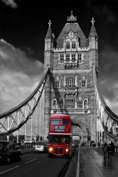 Red London Bus on Tower Bridge