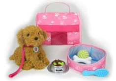 """Pets for 18 Inch Dolls, Complete Puppy Dog Play Set, Perfect Doll Toy fit for 18"""" American Girl Dolls & More! Cuddly Dog, Leash, Carrier, Bed, Food & Play Dog Accessories. Sophia's,http://www.amazon.com/dp/B00CIVQMTM/ref=cm_sw_r_pi_dp_aiuetb08NX22NM03"""