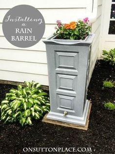 Directions for installing a rain barrel. Shows what extra supplies are needed with pictures and sources.