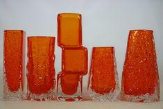 Group of vintage tangerine Whitefriars Glass vases- nail vase; bark vase; drunken bricklayer; coffin vase; volcano  vase