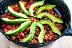 Kalyn's Kitchen®: Baked Eggs Skillet with Avocado and Spicy Tomatoes