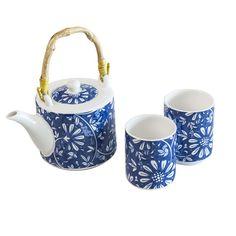 Oriente Set - Teapot + 2 Mugs blue flowers