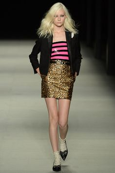 Saint Laurent Spring 2014 Ready-to-Wear Collection Trends: 80's, metallic, pastels,  eclectic mix of fabric, flowing chiffon, ruffles - has all major trends