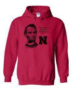 "Abe Lincoln ""No place like NEBRASKA"" Huskers Hooded Sweatshirt"