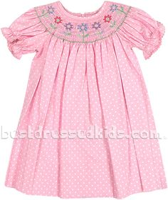 Toddler Dot & Smocked Flower Bishop Dress | Home| Holiday | Easter | View All Easter