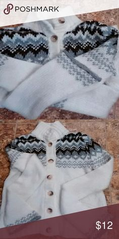 Beautiful Sweater Cream, brown and grey winter sweater. 97%acrylic 3% other materials. Decree Sweaters Cardigans