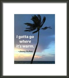 I Gotta Go Where It's Warm. Quote by Jimmy Buffet on photograph.