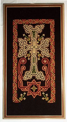 Hungarian Embroidery Stitch An Armenian cross on brown velvet worked in traditional Marash stitch. Hand Embroidery Designs, Embroidery Stitches, Embroidery Patterns, Armenian Culture, Armenian History, Kutch Work, Hungarian Embroidery, Cross Stitch Borders, Celtic Designs