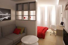 Как разделить на две зоны дизайн однокомнатной квартиры 30 кв.м: фото интерьеров | DomoKed.ru