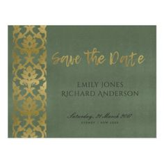 CLASSIC GOLD DAMASK FLORAL PATTERN SAVE THE DATE POSTCARD - formal speacial diy personalize style template