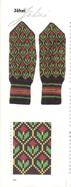 "Photo from album ""Варежки ))) схемы"" on Yandex. Knitted Mittens Pattern, Knit Mittens, Knitting Socks, Hand Knitting, Knitting Charts, Knitting Stitches, Knitting Patterns, Fair Isle Knitting, Tapestry Crochet"