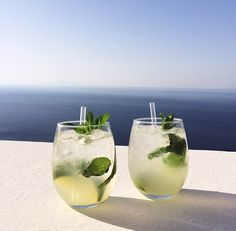 Mojitos in Santorini #greece #sea #green