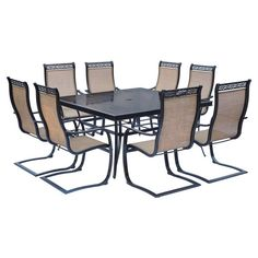 Outdoor Hanover Monaco Aluminum 9 Piece Square Patio Dining Set   Bronze    MONDN9PCSPSQG