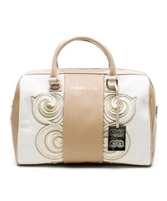 Versace Jeans Collection White & Gold Swirl Convertible Leather Satchel