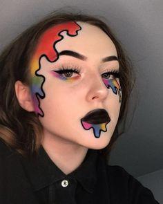Colorful Eye Makeup, Eye Makeup Art, Clown Makeup, Dark Makeup, Eyeshadow Makeup, Rainbow Eye Makeup, Edgy Makeup, Halloween Eye Makeup, Carnival Makeup