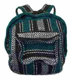"Turquoise Mexican Baja Eco Backpack -   These turquoise striped eco friendly backpacks are made with recycled ""ecoyarns"", an exceptional 100% environmentally friendly fabric with many performance and technological properties. The same materials used to make our very popular Mexican Baja Hoodies. Get a backpack and a turquoise colored hoodie to match!  #sunshinedaydream #hippieshop"