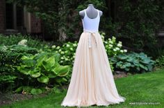 Gorgeous peach chiffon tulle long skirt with sweep by TingBridal