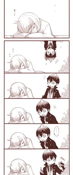 Blue Exorcist ~~ Shiemi sleeping and Amaimon debating what to do... :: These two might be really good for each other; I'm not sure....