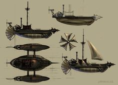 ArtStation - Steampunk Flying Ships (2006 Personal project), Eddie Bennun
