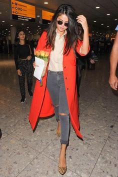 WHO: Selena Gomez WORE: Atea Oceanie shirt, Topshop jeans, Prada purse, and Loeffler Randall shoes