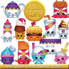 30 Shopkins Food Fair Characters / Clip Art DIY Instant Download Printable High Quality PNG Transparent Files