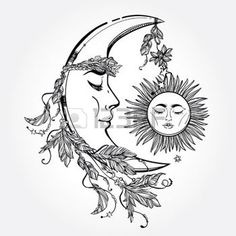 astrologia: Disegno a mano falce di luna con le piume e la corona di foglie e bastoni. Sleeping sole accanto ad essa. Illustrazione vettoriale isolato. Elemento invito. Tatuaggio, astrologia, l'alchimia, simbolo magico. Vettoriali