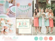 peach and mint wedding inspiration board