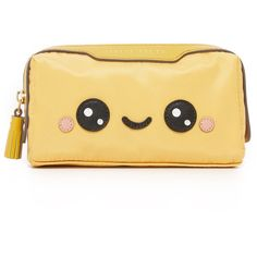 Anya Hindmarch Girlie Stuff Kawaii Pouch (400 BGN) ❤ liked on Polyvore featuring bags, handbags, clutches, zip pouch, beige purse, anya hindmarch pouch, pouch handbags and zipper handbag