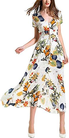 47833eb2c8 Long Maxi Dress Women s Floral Print Maxi Dresses Boho Button up Split  Beach Party Dress Sexy Deep V Neck Long Dress at Amazon Women s Clothing  store