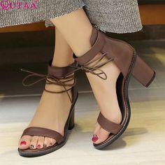 Cheap shoe buckle, Buy Quality shoes lether directly from China shoe dazzle shoes Suppliers: QUTAA 2017 Women Sandal Square High Heel Summer Zipper Brown Women Shoes Genuine Leather Ladies Wedding Shoes Size 34-39